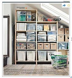 Organization | Ikea 2014 Catalog pg 41 | IVAR storage combination $257 + SAMLA 17 gal container $7.99, 12 gal $6.99, 6 gal $4.99, 3 gal $2.99