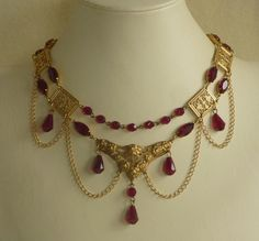 Garnet and Brass Antique Style Festoon Necklace on Etsy, $50.00