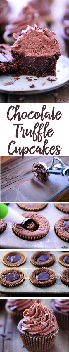 Chocolate Truffle Cupcakes recipe is the ultimate Valentines Day treat! Moist chocolate cupcake with a chocolate truffle stuffed in the middle and chocolate buttercream frosting on top! Baking Cupcakes, Yummy Cupcakes, Cupcake Cakes, Cup Cakes, Frosting Recipes, Cupcake Recipes, Dessert Recipes, Cupcake Flavors, Chocolate Truffles