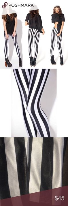 [Black Milk] •Beetlejuice Leggings• Gently worn Black Milk Beetlejuice leggings. Some wear on each leg towards bottom (see third photo).  Other than that these leggings are in good condition! Black Milk Clothing Pants Leggings