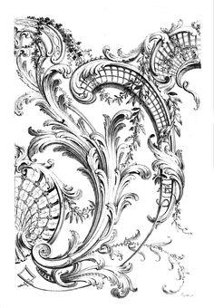 Antique Cartouche engraving - Roccoco design -