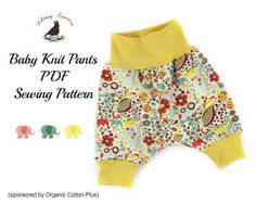 Free Baby Knit Pants Sewing Pattern in Newborn | YouCanMakeThis.com | Sewing Pattern