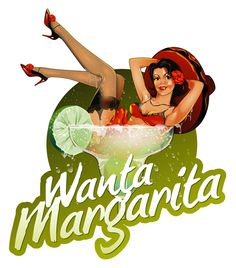 Wanta a Margarita ? Cool drinks logo design with the pin up girl in the glass. Logo illustration.
