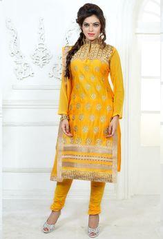 #Yellow #Cotton #Straight #Suit With #Churidar #Salwar #nikvik  #usa  #australia  #pakistanisuit #wedding #canada #wedding