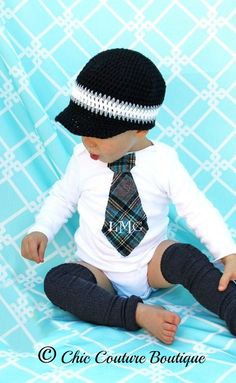Baby Boy, Easter Spring, English Accent Brushed Spring Plaid Monogrammed / Personalized Tie Onesie. Gray / Grey, Black, Navy, White, Green. 23.50, via Etsy.