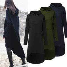 Casual Women Hooded Solid Color High Low Sweatshirt Dress