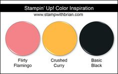 Stampin' Up! Color Inspiration: Flirty Flamingo, Crushed Curry, Basic Black