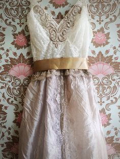 white & pale taupe tulle lace boho princess wedding dress by