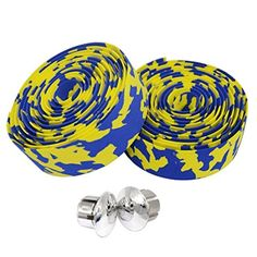 TOPCABIN Camouflage Series Comfort GEL Road Bike Handlebar Tape Bike Bar Tape with Reflective Bar Plugs (Yellow-Blue) a pair - Brought to you by Avarsha.com