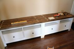 Used two ikea Hermes entertainment centers for the bench