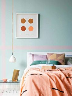 Sarah Ellison for Real Living - pastel bedroom interior Pastel Bedroom, Bedroom Orange, Blush Bedroom, Home Bedroom, Bedroom Decor, Bedrooms, Bedroom Ideas, Bedroom Colors, Modern Bedroom