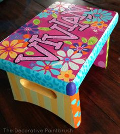 Painted Stool, Child's Foot Stool, Personalized Stool, Foot Stool, Boys Foot…