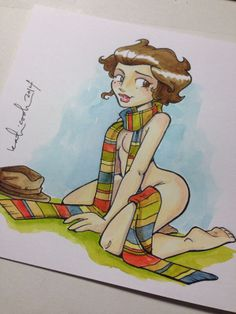 Fourth Doctor Pin-Up Girl (by Katie Cook)