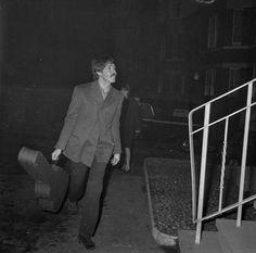 24th November 1966. A very suntanned Paul McCartney arrives at Abbey Road.