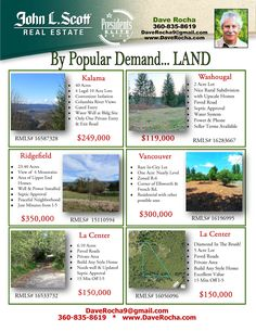Featured Acreage Land Lots represented by Dave Rocha, John L. Scott Vancouver Office. Call for more info at: (360) 835-8619.