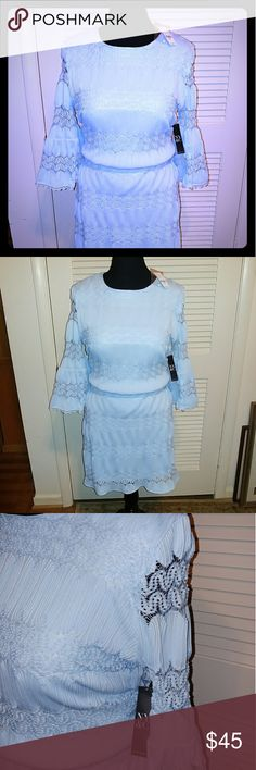 BNWT! Powder Blue Lace Dress Perfect condition! Vintage inspired. Gorgeous all-over lace detail. Fully lined. Smoke free home. New York & Company Dresses Mini
