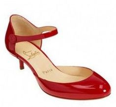 Lovely Rounded Toe Red Patent Christian Louboutin Loubis Babes D'orsay Low Heel Shoes LEEANNE!!!!!!!!