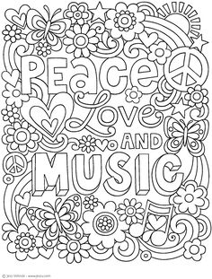 Notebook Doodles Peace Love And Music Coloring Activity Book Amazon