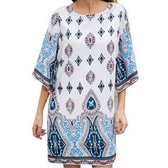 Ayliss Womens Bohemian Dress Printing Casual Loose Cut out Back Mini DressXL ** Check this awesome product by going to the link at the image.