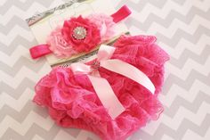 Lace bloomer, Posh Pink hot pink lace Diaper Cover Bloomer Set flower Headband newborn baby girl photography christmas gift. $21.95, via Etsy.