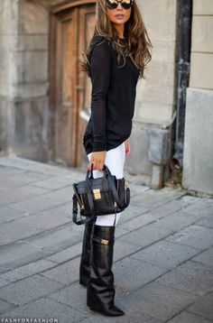 Black top, white pants, black boots. Would be cute with a colorful blazer too!
