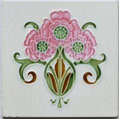 c.1905 Art Nouveau floral spray tile