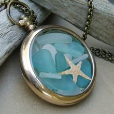 Ocean Treasures Antique GF Pocket Watch Locket Sea Glass Necklace by newsprout on Etsy Sea Glass Necklace, Sea Glass Jewelry, Glass Earrings, Bling, Turquoise, Bijoux Diy, Jewelry Crafts, Glass Art, Clear Glass