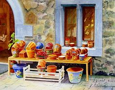 Shops Painting - The Pottery Shop by Karen Fleschler