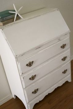 A Diamond in the Stuff: Shabby Secretary Desk & DIY Chalk Paint. Paint, distress edges then wax