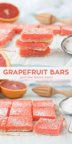 Grapefruit Bars are just like your favorite lemon bars with a shortbread crust and citrus curd, but with the sweeter flavor of pink or ruby red grapefruit. Just Desserts, Delicious Desserts, Yummy Food, Lemon Desserts, Grapefruit Recipes Healthy, Grapefruit Ideas, Recipe Using Grapefruit, Sweets, Recipes