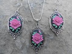 """Stunning 2 Piece Set- Magenta/Pink Rose on a Beautiful Black Background Cameo Necklace and Earrings.925 plated 22"""" Chain--- Great Quality - pinned by pin4etsy.com"""
