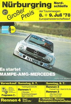 The programme of the Touringcar Grand Prix 1978 showing the spectacular AMG Mercedes 450 SLC, which had it's first appearance at this race