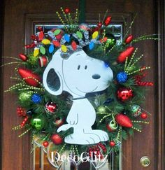 SNOOPY CHRISTMAS WREATH with Colorful Lights by decoglitz on Etsy