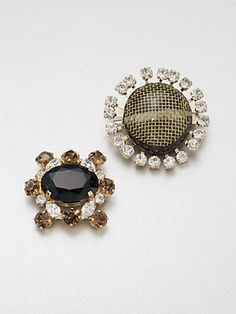 Marni - Stone Accented Petite Pin Set - Saks.com - Adorable mismatching pair of glittery brooches