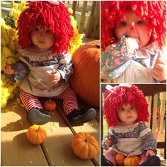 Raggedy Ann Halloween costume. Had so much fun putting this together for my 6 month old baby