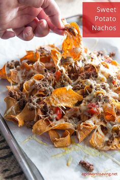 Looking for some easy Paleo Nachos made with sweet potatos? Get the recipe here ., Food And Drinks, Looking for some easy Paleo Nachos made with sweet potatos? Get the recipe here and hear my first hand experience with the Mitsubishi Outlander Sport. Sweet Potato Nachos, Paleo Sweet Potato, Sweet Potato Recipes, Paleo Recipes Easy, Whole Food Recipes, Cooking Recipes, Free Recipes, Skillet Recipes, Cleaning Recipes