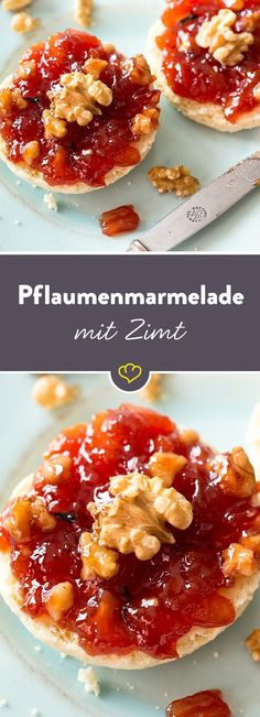 Plum and walnut jam with rum- Pflaumen-Walnuss-Marmelade mit Rum When do you voluntarily let some winter feeling … - Healthy Dessert Recipes, Healthy Baking, Delicious Desserts, Healthy Snacks, Yummy Food, Chutneys, Vegetable Drinks, Healthy Eating Tips, Sweet And Spicy