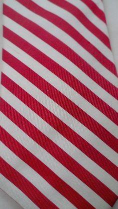 Vintage Jacobson's Hand Sewn Men's Necktie 100% Silk 58Lx3.5W Striped Red Cream #Tie