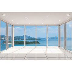 window empty beach sea modern rooms backgrounds bay wall featuring walls mural template