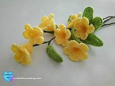 Crochet 3D flower bouquet (Golden Trumpet Vine) Pattern