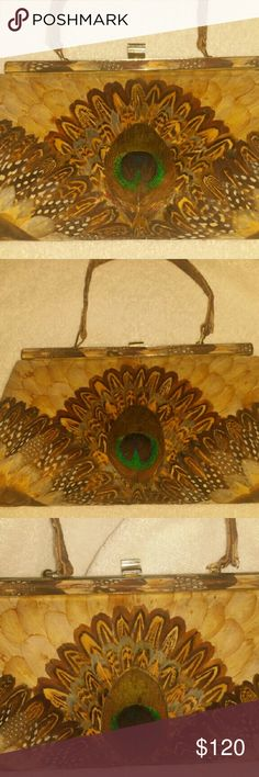 """Handbag Clutch - Specialty Bag """"Vintage"""" From the 1960's Handmade Peacock Feather """"Original"""" bag. Excellent """"like new condition"""" Genuine Peacock Handmade  Bags Clutches & Wristlets"""