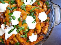 loaded baked potato fries - Budget Bytes LEAVE out 1 tsp worcestershire sauce it has ANCHOVIES in it....