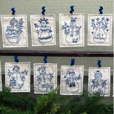 Show details for Snowmen by the Dozen - Hand Embroidery