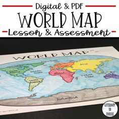 this world map lesson and assessment focuses on continents oceans and the equator paper pdf and google drive resources included this resource can