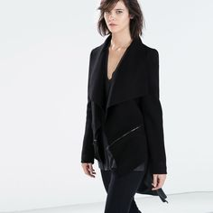 "✨SOLD✨new | Zara Black Draped Collar Wool Jacket S Layer like a boss with this black draped collar jacket from Zara. Features super soft wool blend body, an zipper detail at waist and sleeves. Fully lined. 73% wool, 27% polyamide; lining 100% polyester. Very luxurious jacket!   *size small   * 36"" bust 