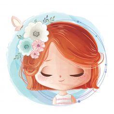 Art And Illustration, Watercolor Illustration, Cartoon Kunst, Cartoon Art, Cute Girl Drawing, Cute Drawings, Abstract Face Art, Cute Chibi, Cute Cartoon