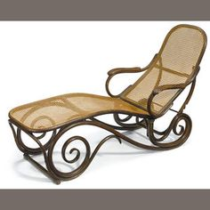 A Thonet caned bentwood chaise lounge, ca 1890