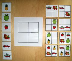 Positioning in space. I can't read french but this I understand. Nice braintraining for my toddler, especially made with pictures of things she loves, like fruits or flowers. Then you can also practice the colours.