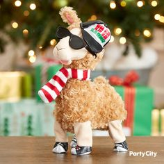 This Animated Rapping Llama is wearing sunglasses, a hat, and a striped scarf. Squeeze its foot and watch as it breaks into a song and dance. Christmas Décor, Holiday Parties, Rap, Crafts For Kids, Plush, Christmas Decorations, Animation, Dance, Sunglasses