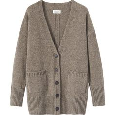 Toast Elisabet Cardigan (160 CAD) ❤ liked on Polyvore featuring tops, cardigans, outerwear, sweaters, smoke grey, gray cardigan, drop shoulder tops, grey cardigan, holiday cardigan and ribbed cardigan